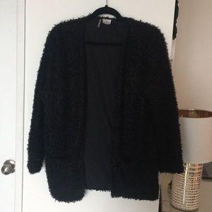 Black long sleeve open cardigan